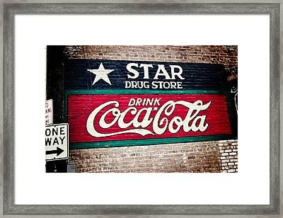 Star Drug Store Wall Sign Framed Print by Scott Pellegrin