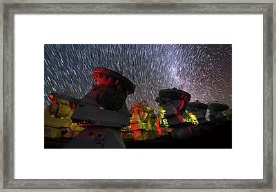 Star Trails Over Alma Telescopes Framed Print by Babak Tafreshi
