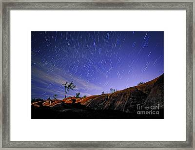 Star Trails Over Badlands Framed Print by Charline Xia
