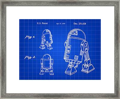 Star Wars R2-d2 Patent 1979 - Blue Framed Print by Stephen Younts