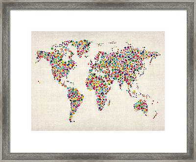 Stars Map Of The World Map Framed Print