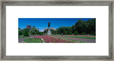 Statue In A Garden, Paul Revere Statue Framed Print by Panoramic Images
