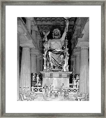 Statue Of Zeus At Olympia Framed Print by Cci Archives