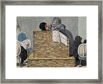 Steam Bath, 19th Century Framed Print