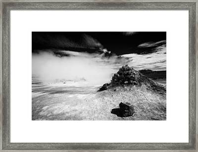 Steaming Fumarole In Iceland Black And White Framed Print