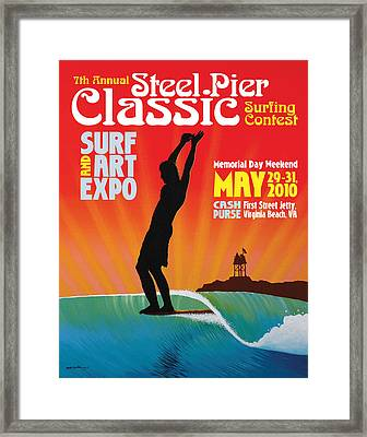 Steel Pier Classic Surf Contest Poster 2010 Framed Print by Matthew Haddaway