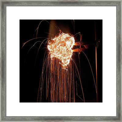 Steel Wool Burning In Air Framed Print by Science Photo Library