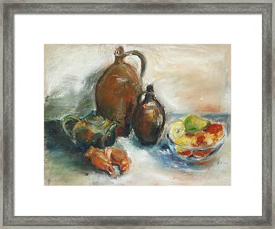 Still Life With Earthen Jugs Framed Print by Barbara Pommerenke