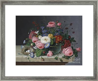 Still Life With Flowers And Birds Nest Framed Print by Severin Roesen