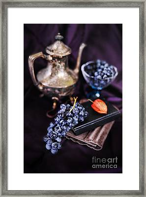 Still Life With Grapes And Silver Teapot Framed Print