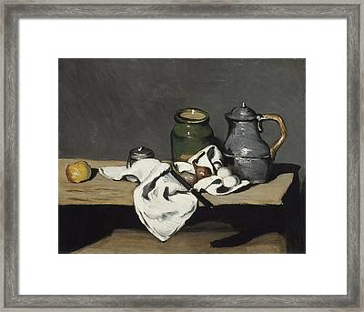 Still Life With Kettle Framed Print by Paul Cezanne