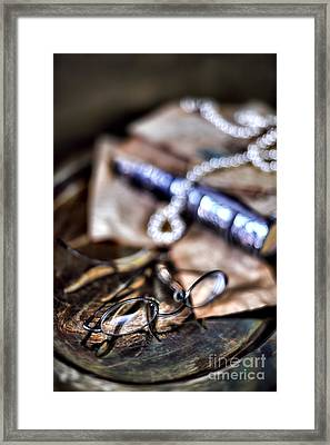 Still Life With Pearls And Glasses Framed Print