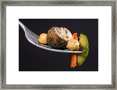 Stir Fried Vegetables On Fork Framed Print by Donald  Erickson
