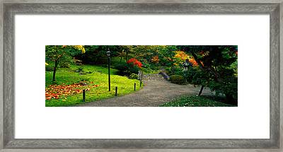 Stone Bridge, The Japanese Garden Framed Print by Panoramic Images