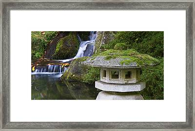 Stone Lantern And Heavenly Falls Framed Print by William Sutton