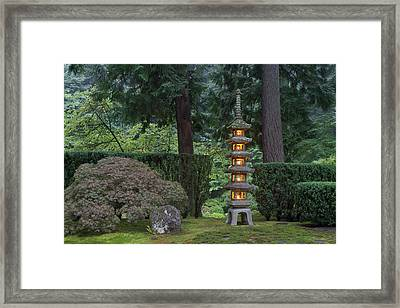 Stone Lantern Illuminated With Candles Framed Print by William Sutton