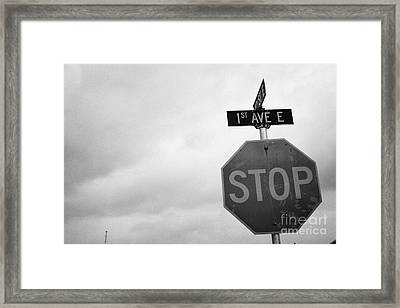stop sign at junction of first street and first avenue on a cold grey day assiniboia Saskatchewan Ca Framed Print