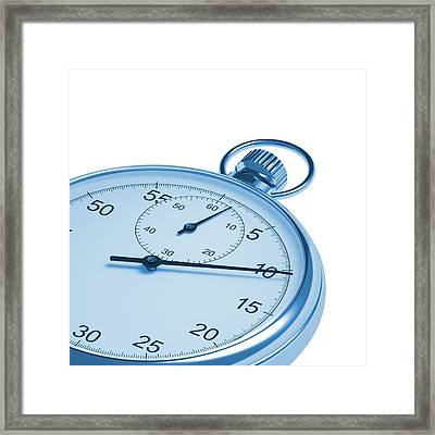 Stopwatch On White Background Framed Print