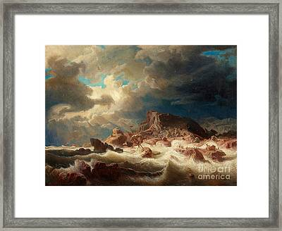 Stormy Sea With Ship Wreck Framed Print by Celestial Images
