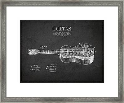 Stratton Guitar Patent Drawing From 1893 Framed Print by Aged Pixel