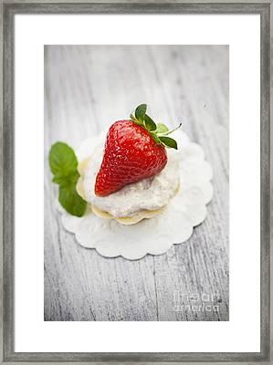 Strawberry Cupcake Framed Print by Mythja  Photography
