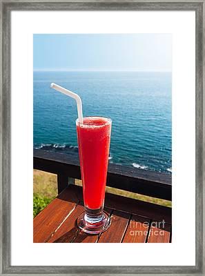 Strawberry Smoothie Soda Framed Print