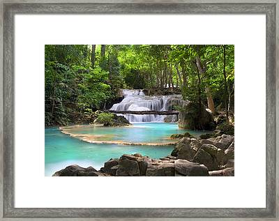 Stream With Waterfall In Tropical Forest Framed Print