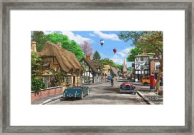 Street Cottage Lane Framed Print by Dominic Davison