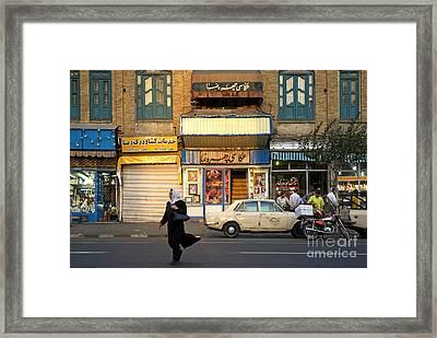 Street Scene In Teheran Iran Framed Print