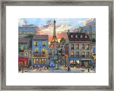 Streets Of Paris Framed Print by Dominic Davison