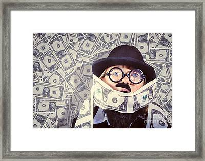 Stressed Business Man Drowning In Financial Debt Framed Print by Jorgo Photography - Wall Art Gallery