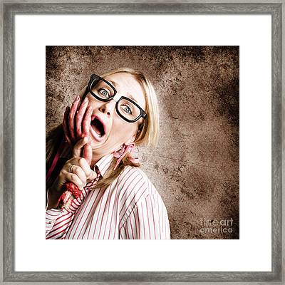 Stressed Businesswoman Under Attack At Work Framed Print by Jorgo Photography - Wall Art Gallery