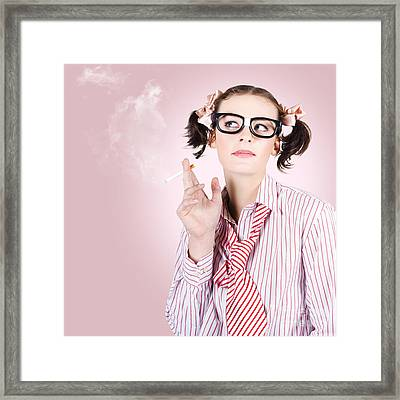 Stressed Geeky Office Worker On Smoke Break Framed Print