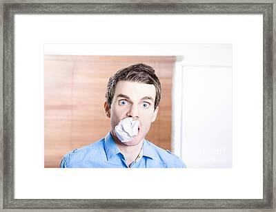 Stressed Male Office Employee Eating Big Workload Framed Print by Jorgo Photography - Wall Art Gallery