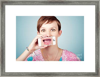 Stressed Woman With Smashed Smartphone Screen Framed Print by Jorgo Photography - Wall Art Gallery