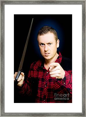Stressed Workman Pointing The Finger At You Framed Print