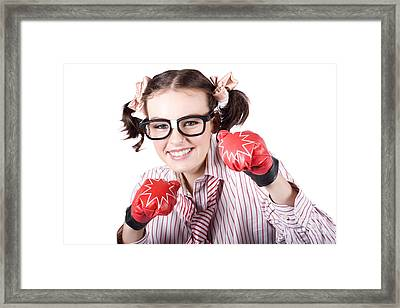 Strong Driven Business Woman Wearing Boxing Gloves Framed Print