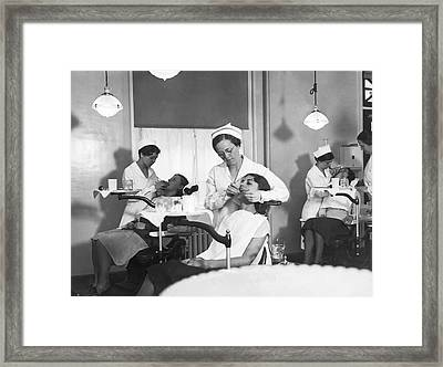 Students At A Dental School Framed Print by Underwood Archives