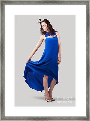 Studio Fashion Woman In Blue Dress Framed Print by Jorgo Photography - Wall Art Gallery
