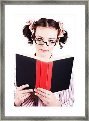 Studious School Student Reading Text Book On White Framed Print by Jorgo Photography - Wall Art Gallery