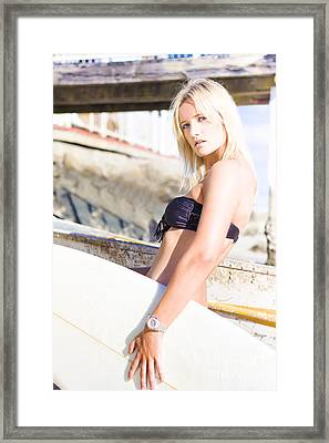 Stunning Blonde Female Surfer On Summer Vacation  Framed Print by Jorgo Photography - Wall Art Gallery
