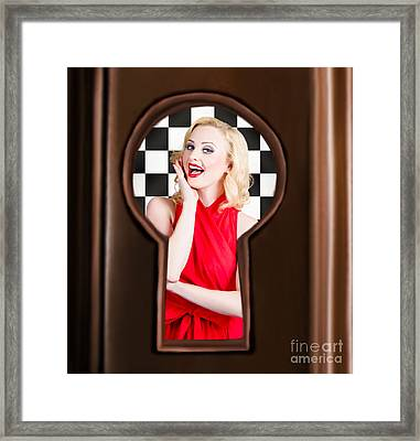 Stylish Surprised Women Portrait. Pinup Secret Framed Print by Jorgo Photography - Wall Art Gallery