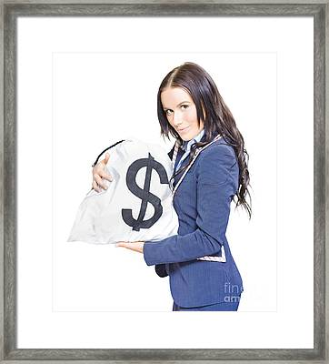 Successful Business Woman Holding Bags Of Money Framed Print