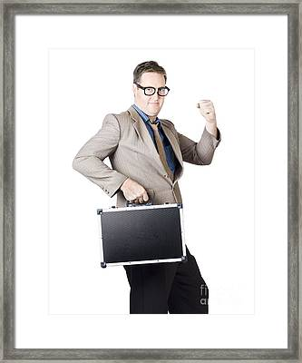 Successful Businessman With Briefcase Framed Print