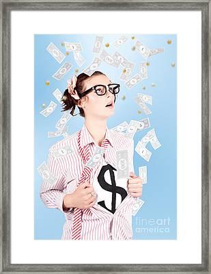 Successful Female Business Superhero Winning Money Framed Print by Jorgo Photography - Wall Art Gallery