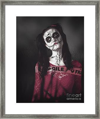 Sugar Skull Doll Walking In A Dead Haunted Forest Framed Print by Jorgo Photography - Wall Art Gallery