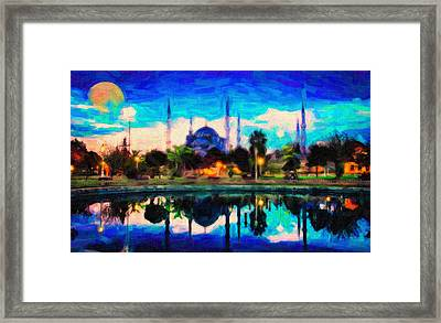 Sultan Ahmed The Blue Mosque Framed Print by Celestial Images