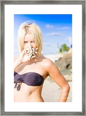 Summer Beach Babe Framed Print