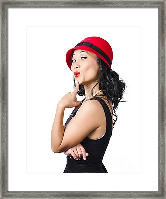 Summer Beauty Wearing Red Vintage Hat Framed Print by Jorgo Photography - Wall Art Gallery