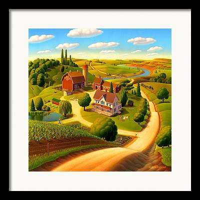 Folk Landscape Framed Prints